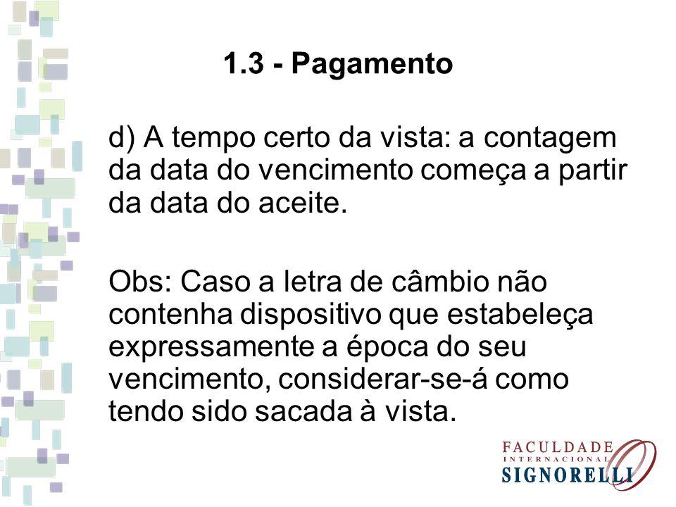 1.3 - Pagamento d) A tempo certo da vista: a contagem da data do vencimento começa a partir da data do aceite.