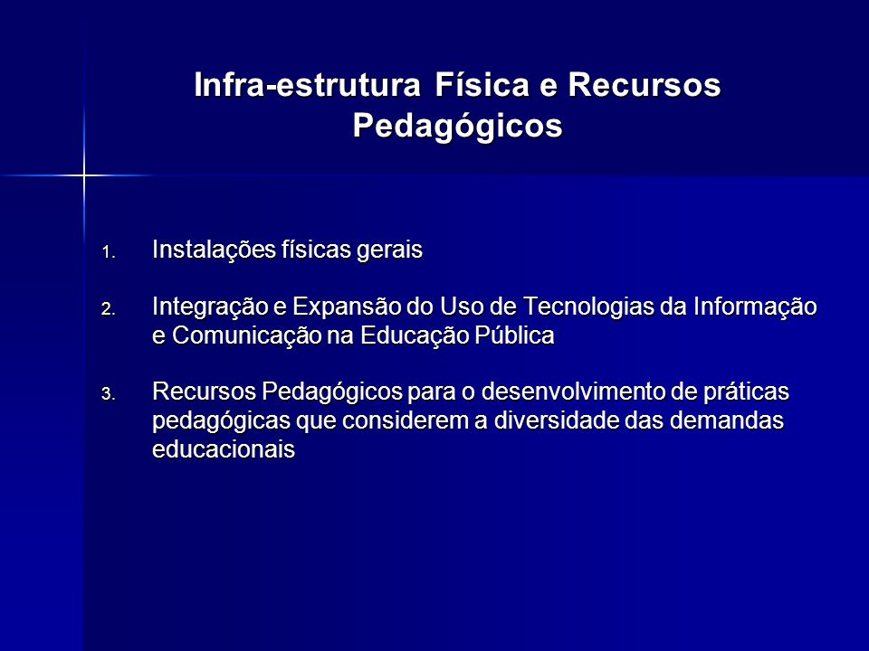 Infra-estrutura Física e Recursos Pedagógicos