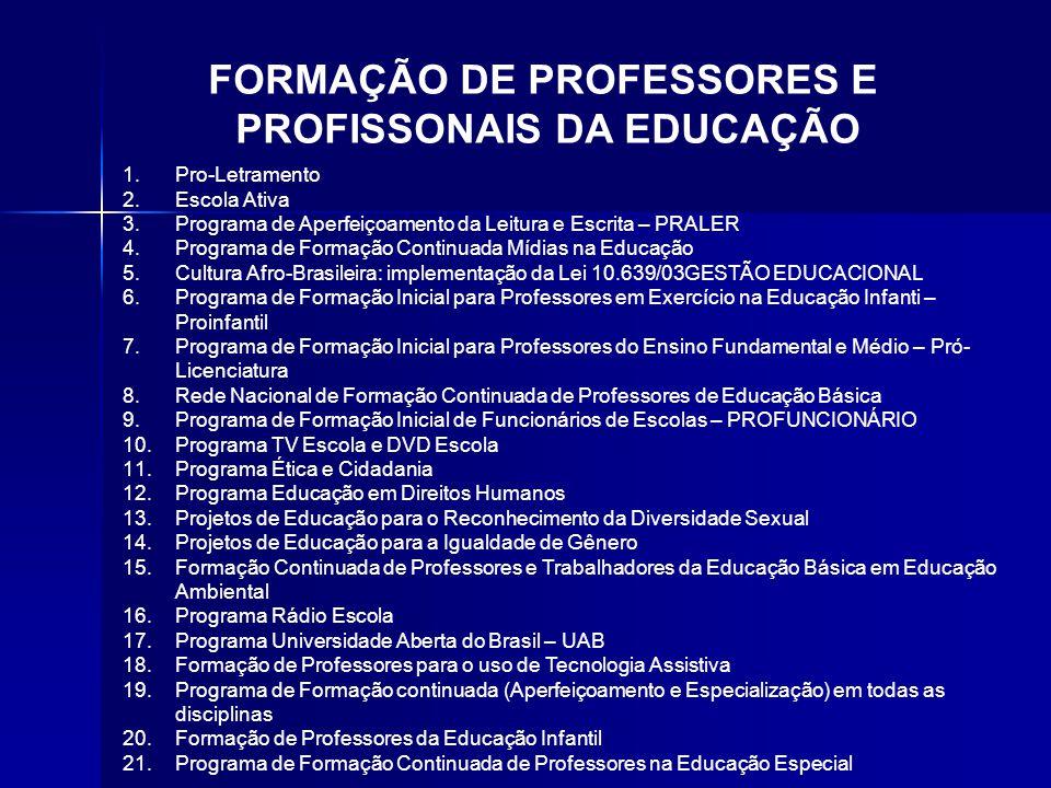 FORMAÇÃO DE PROFESSORES E PROFISSONAIS DA EDUCAÇÃO