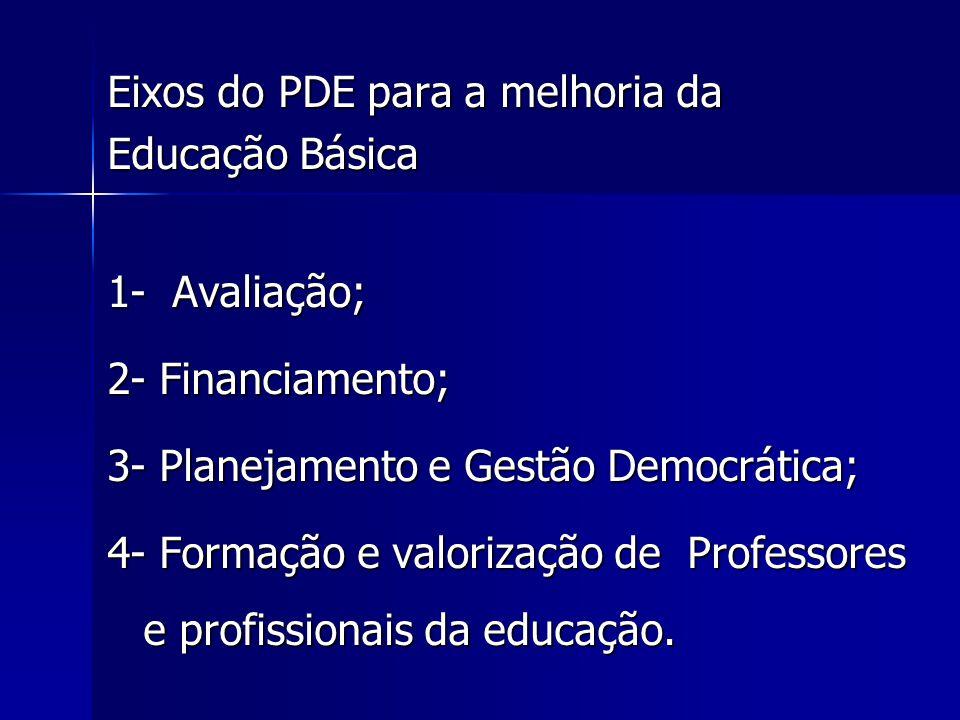 Eixos do PDE para a melhoria da Educação Básica 1- Avaliação; 2- Financiamento; 3- Planejamento e Gestão Democrática; 4- Formação e valorização de Professores e profissionais da educação.