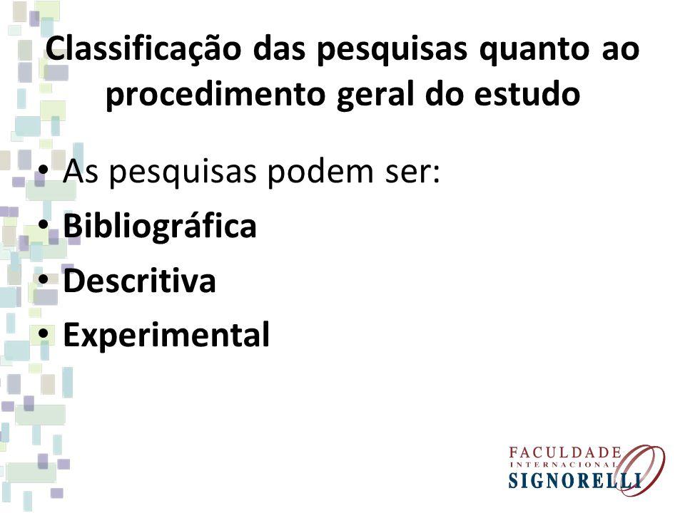 Classificação das pesquisas quanto ao procedimento geral do estudo