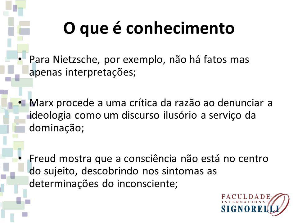 O que é conhecimento Para Nietzsche, por exemplo, não há fatos mas apenas interpretações;