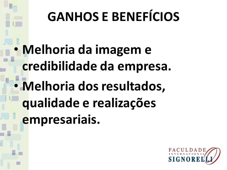 GANHOS E BENEFÍCIOS Melhoria da imagem e credibilidade da empresa.