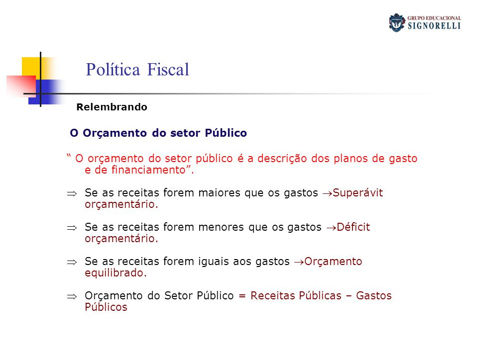 Política Fiscal Relembrando. O Orçamento do setor Público. O orçamento do setor público é a descrição dos planos de gasto e de financiamento .