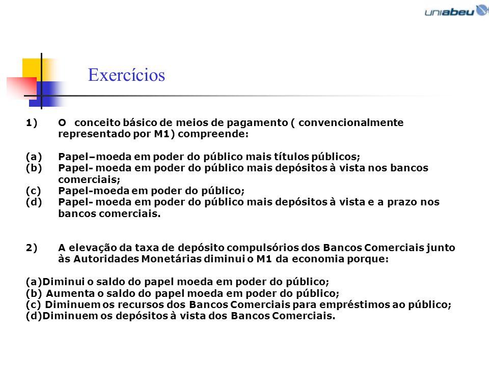 Exercícios O conceito básico de meios de pagamento ( convencionalmente representado por M1) compreende: