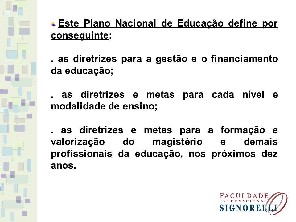 . as diretrizes para a gestão e o financiamento da educação;