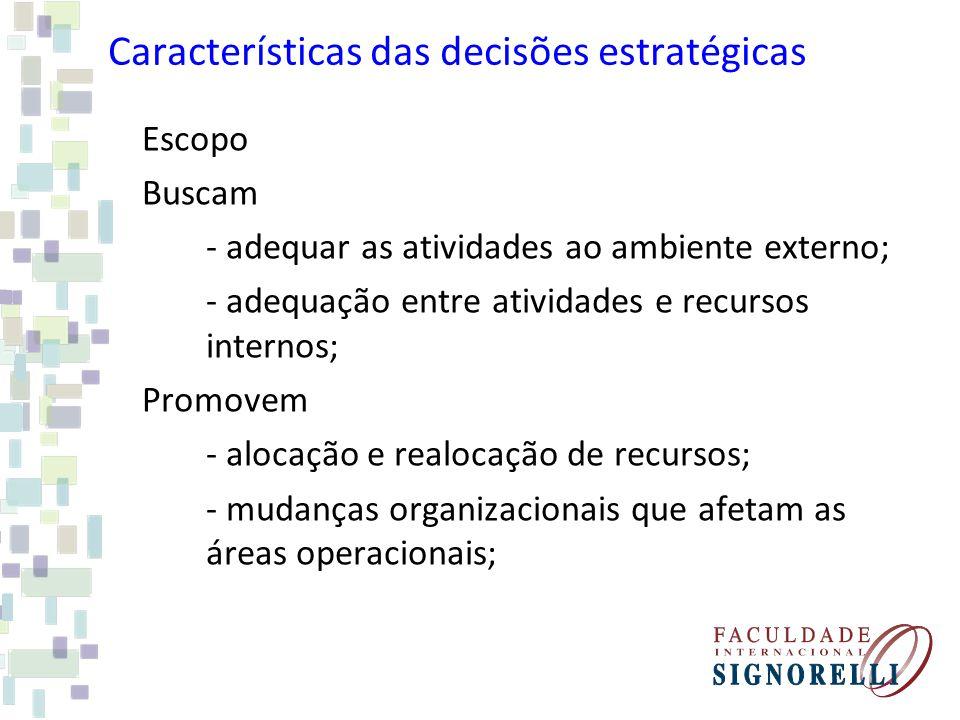 Características das decisões estratégicas