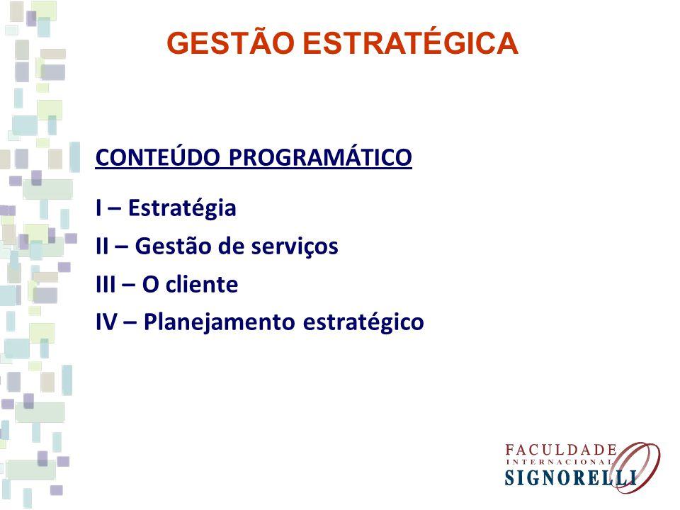 GESTÃO ESTRATÉGICA CONTEÚDO PROGRAMÁTICO I – Estratégia