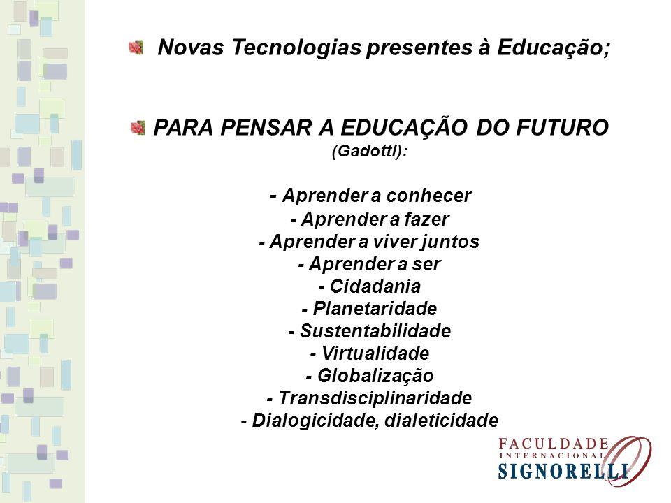 Novas Tecnologias presentes à Educação;