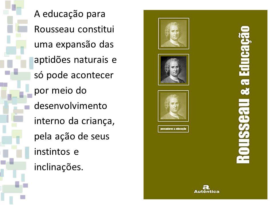 A educação para Rousseau constitui. uma expansão das. aptidões naturais e. só pode acontecer. por meio do.