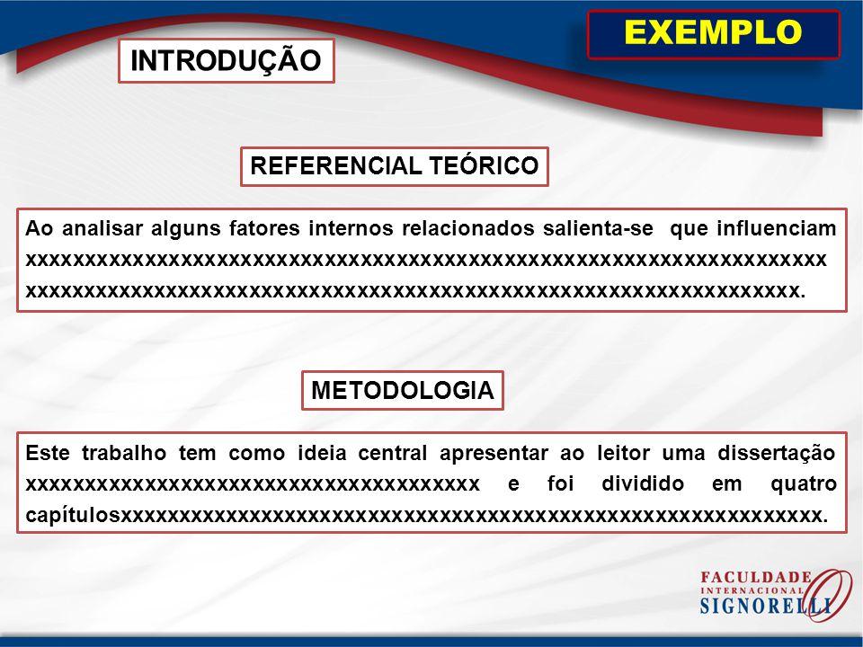 EXEMPLO INTRODUÇÃO REFERENCIAL TEÓRICO METODOLOGIA