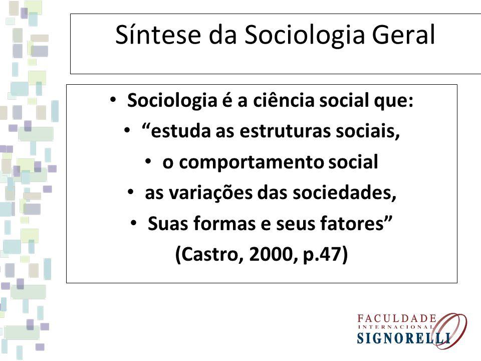 Síntese da Sociologia Geral