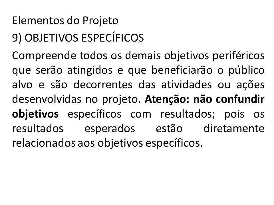 Elementos do Projeto 9) OBJETIVOS ESPECÍFICOS.