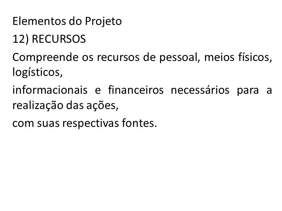 Elementos do Projeto 12) RECURSOS. Compreende os recursos de pessoal, meios físicos, logísticos,