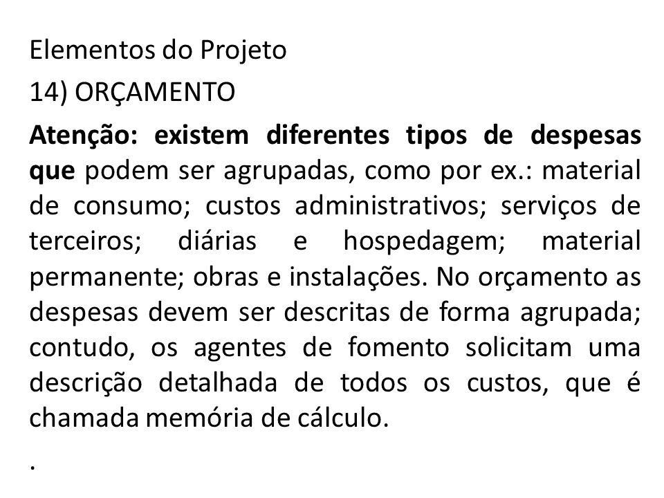 Elementos do Projeto 14) ORÇAMENTO.