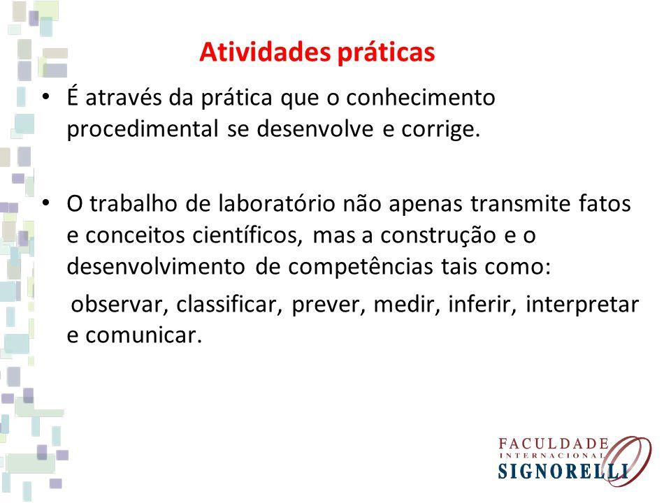 Atividades práticas É através da prática que o conhecimento procedimental se desenvolve e corrige.