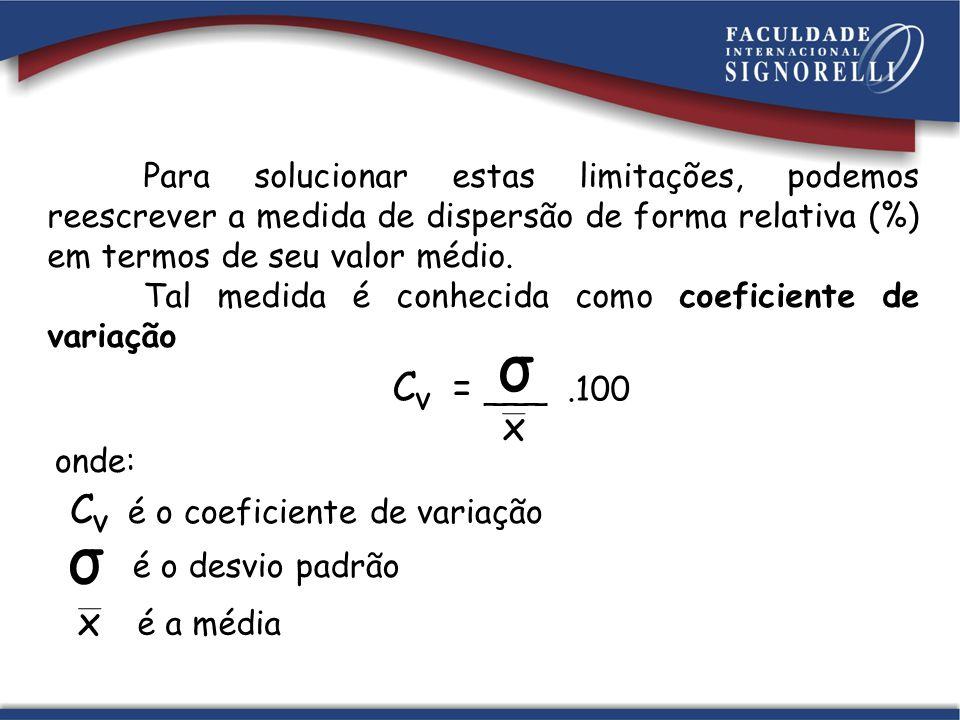 σ σ C = ___ .100 x C é o coeficiente de variação x