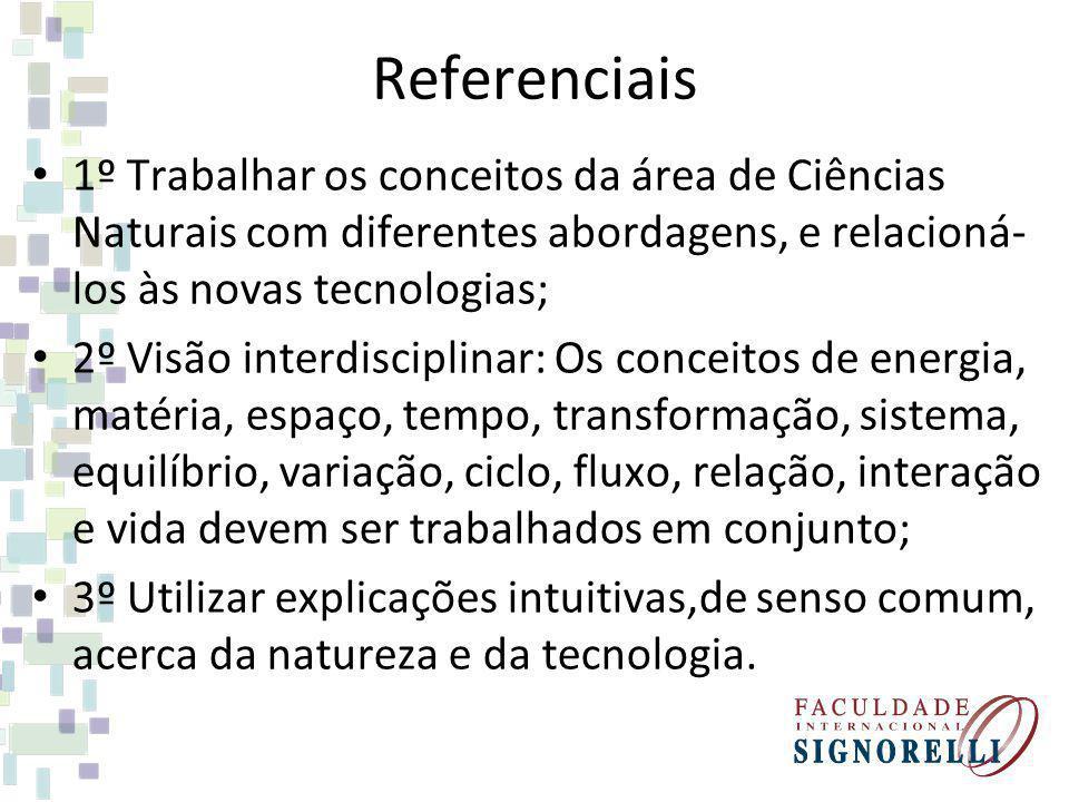 Referenciais 1º Trabalhar os conceitos da área de Ciências Naturais com diferentes abordagens, e relacioná-los às novas tecnologias;