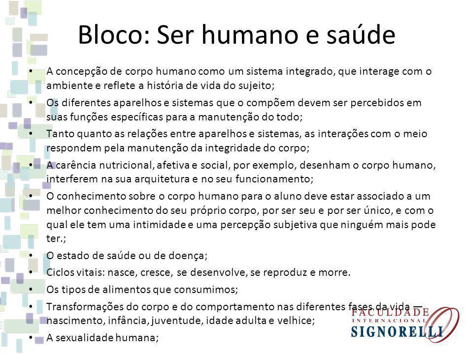 Bloco: Ser humano e saúde