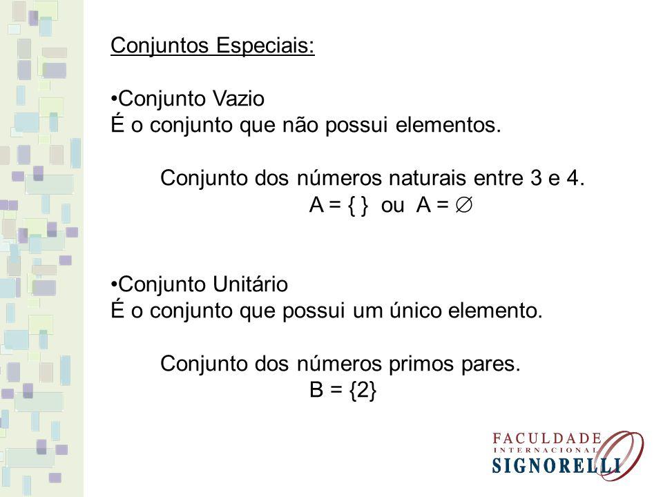 Conjuntos Especiais: Conjunto Vazio. É o conjunto que não possui elementos. Conjunto dos números naturais entre 3 e 4.