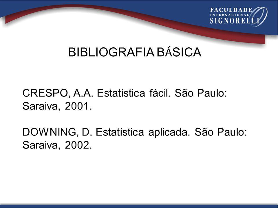 BIBLIOGRAFIA BÁSICA CRESPO, A.A. Estatística fácil. São Paulo: