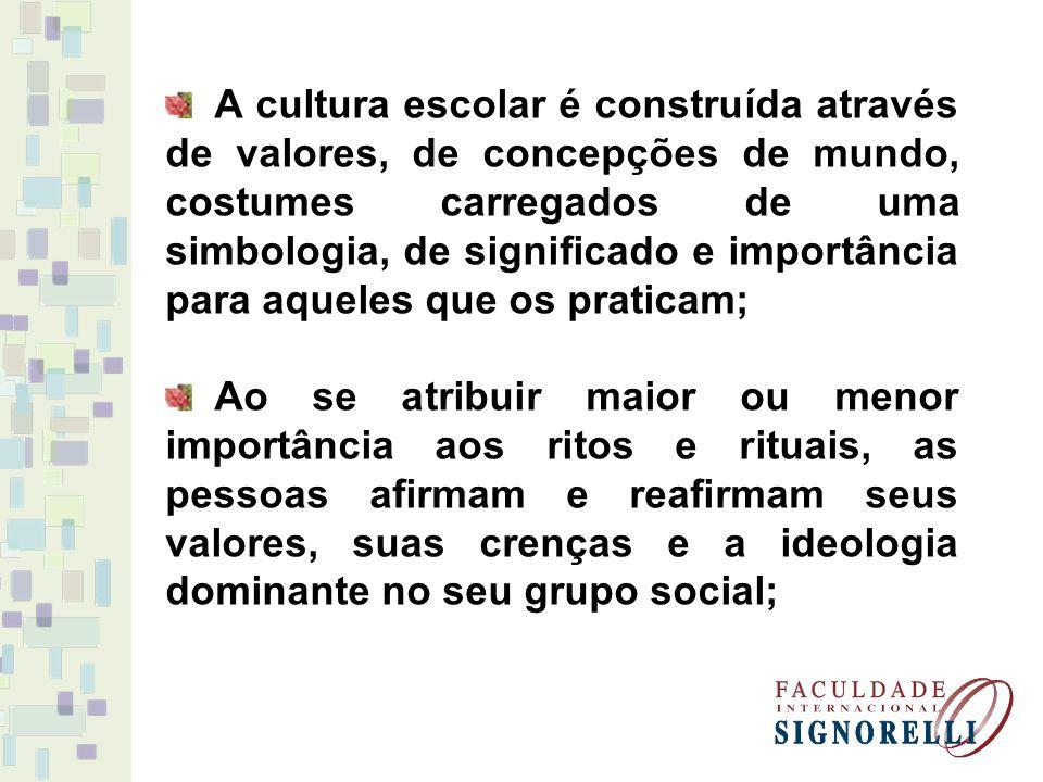 A cultura escolar é construída através de valores, de concepções de mundo, costumes carregados de uma simbologia, de significado e importância para aqueles que os praticam;