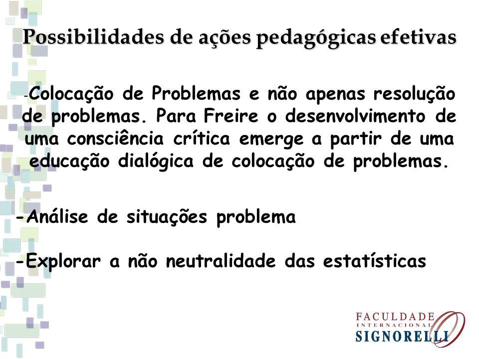 Possibilidades de ações pedagógicas efetivas