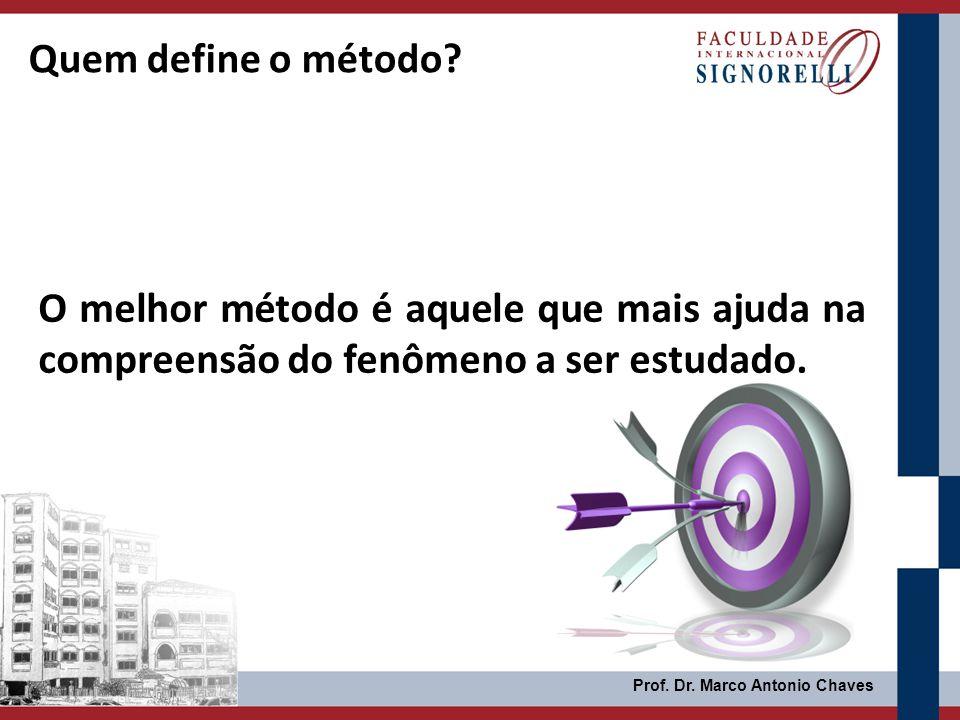 Quem define o método O melhor método é aquele que mais ajuda na compreensão do fenômeno a ser estudado.