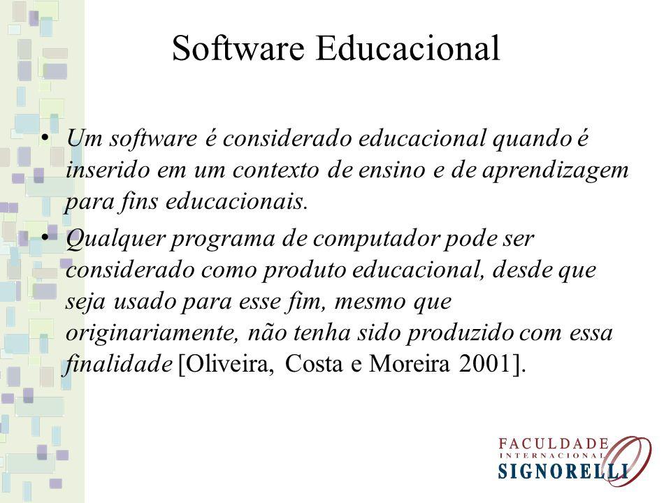 Software Educacional Um software é considerado educacional quando é inserido em um contexto de ensino e de aprendizagem para fins educacionais.