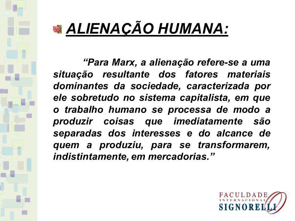ALIENAÇÃO HUMANA: