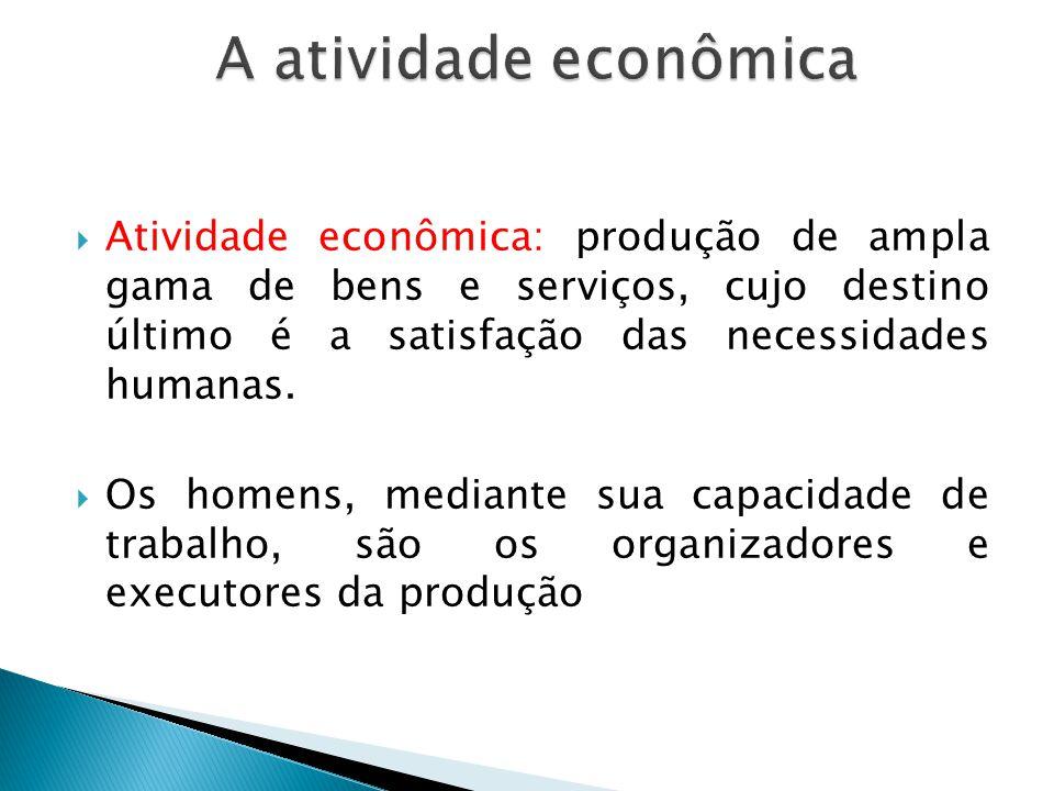 A atividade econômica Atividade econômica: produção de ampla gama de bens e serviços, cujo destino último é a satisfação das necessidades humanas.