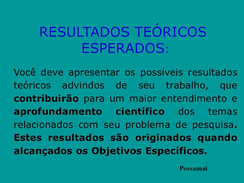 RESULTADOS TEÓRICOS ESPERADOS:
