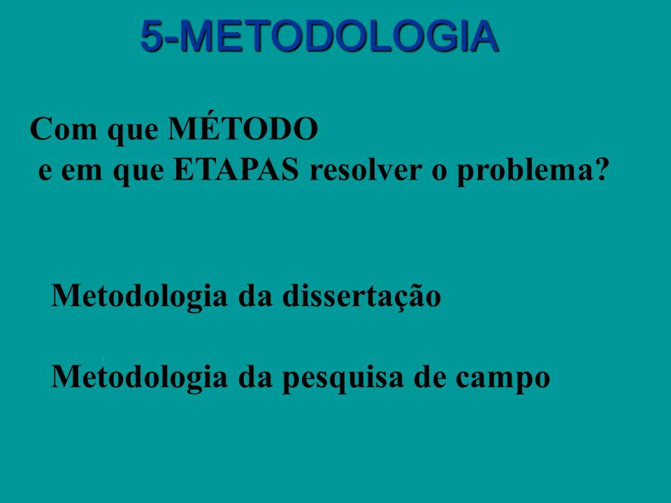 5-METODOLOGIA Com que MÉTODO e em que ETAPAS resolver o problema