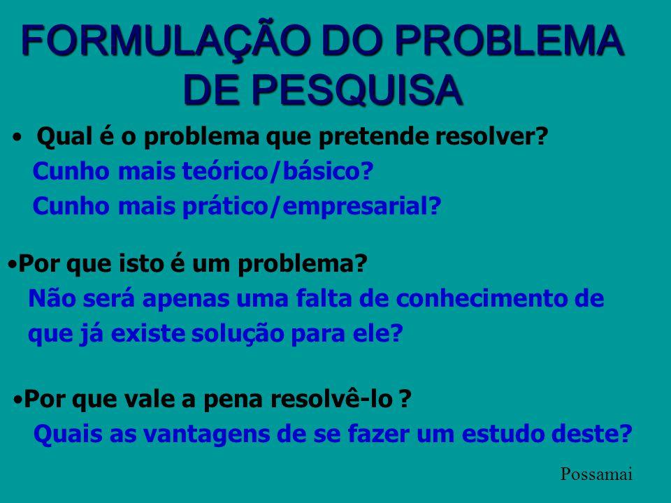 FORMULAÇÃO DO PROBLEMA DE PESQUISA