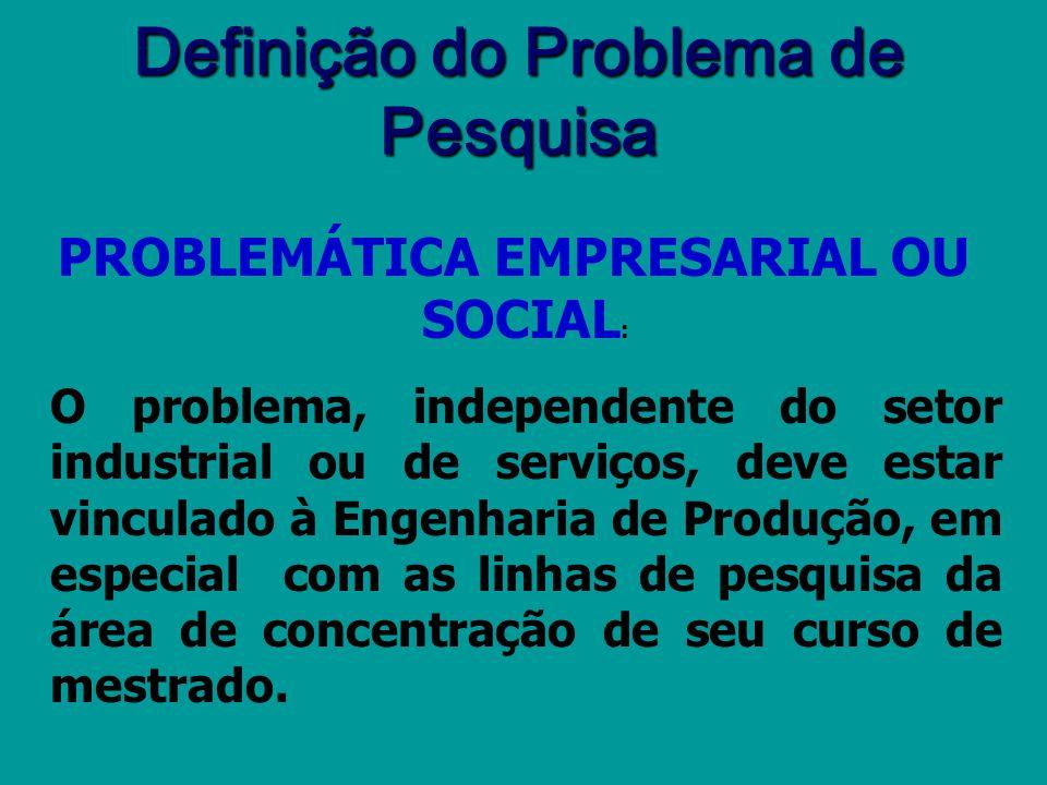 Definição do Problema de Pesquisa PROBLEMÁTICA EMPRESARIAL OU SOCIAL: