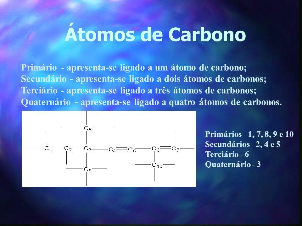 Átomos de Carbono Primário - apresenta-se ligado a um átomo de carbono; Secundário - apresenta-se ligado a dois átomos de carbonos;