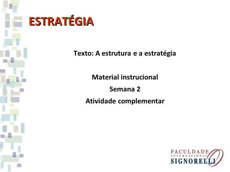 ESTRATÉGIA Texto: A estrutura e a estratégia Material instrucional