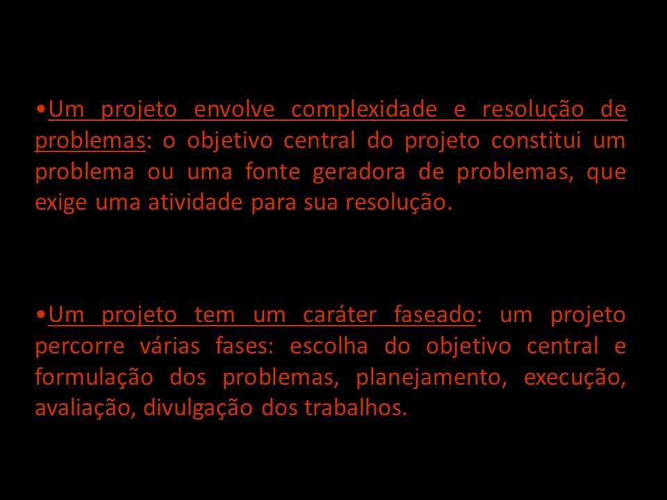 Um projeto envolve complexidade e resolução de problemas: o objetivo central do projeto constitui um problema ou uma fonte geradora de problemas, que exige uma atividade para sua resolução.