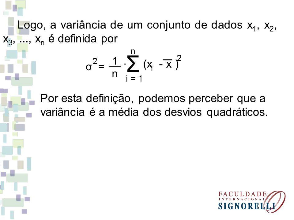 Logo, a variância de um conjunto de dados x1, x2, x3,