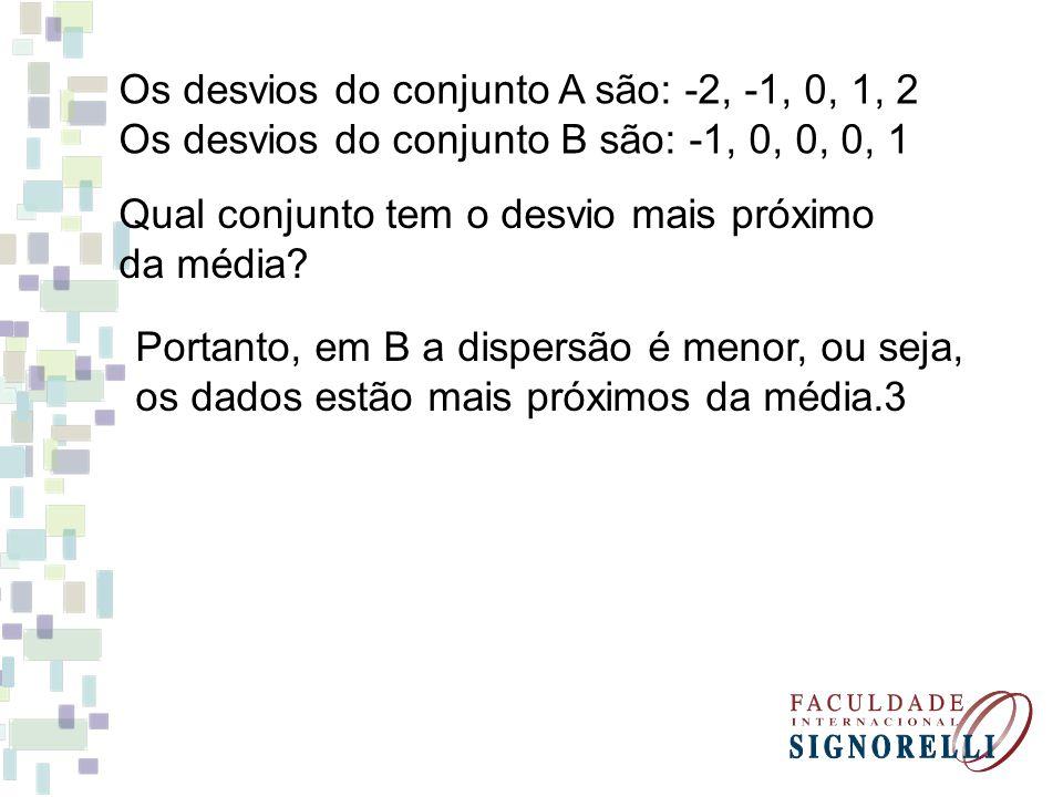 Os desvios do conjunto A são: -2, -1, 0, 1, 2 Os desvios do conjunto B são: -1, 0, 0, 0, 1