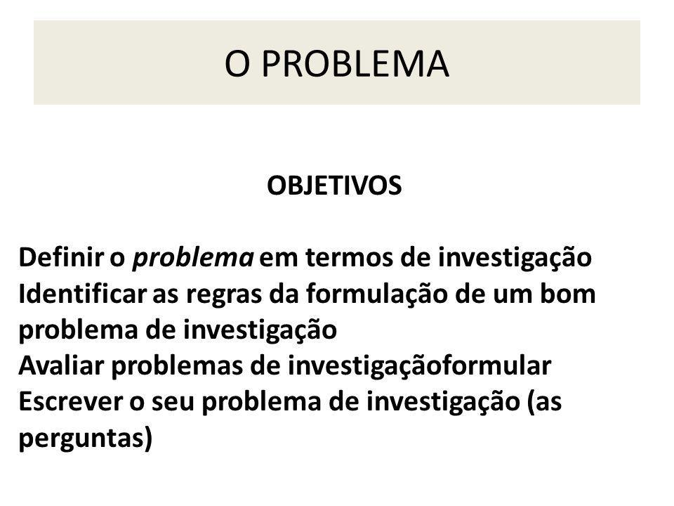 O PROBLEMA OBJETIVOS Definir o problema em termos de investigação
