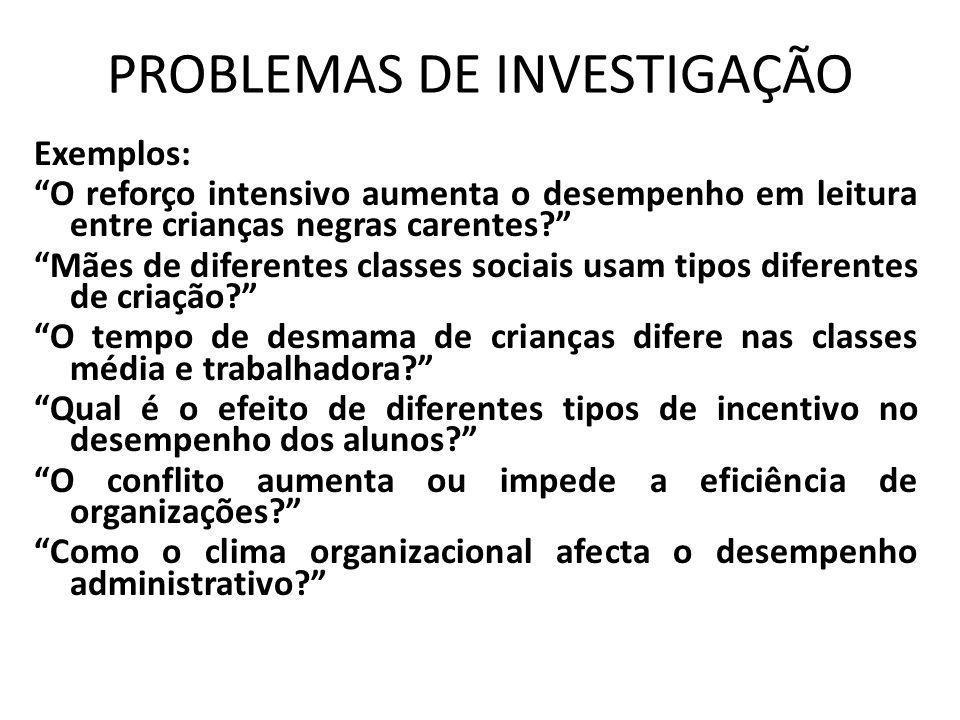 PROBLEMAS DE INVESTIGAÇÃO