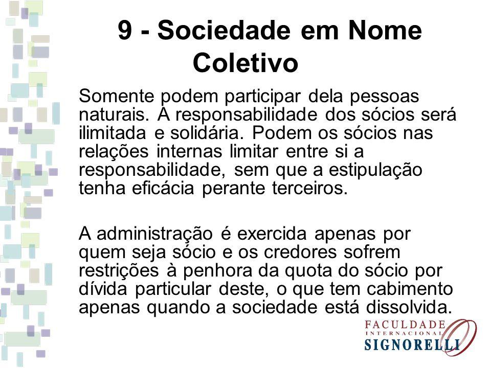 9 - Sociedade em Nome Coletivo