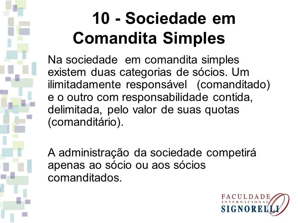 10 - Sociedade em Comandita Simples