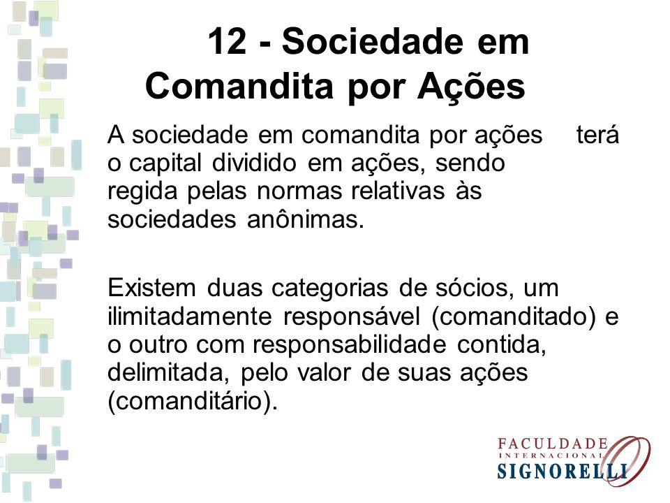 12 - Sociedade em Comandita por Ações
