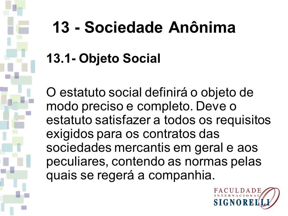 13 - Sociedade Anônima 13.1- Objeto Social