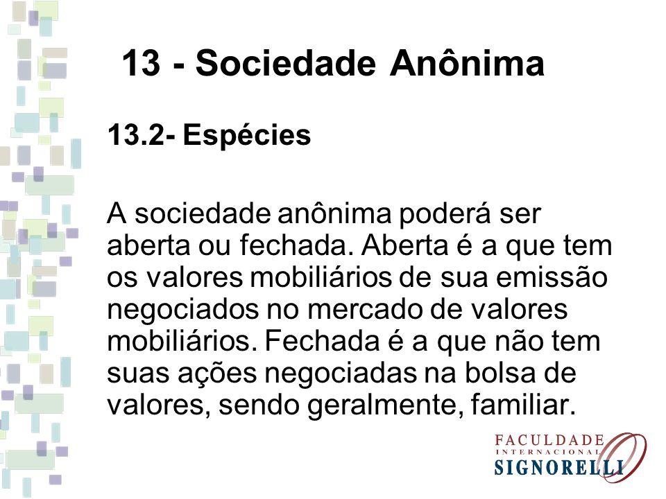 13 - Sociedade Anônima 13.2- Espécies