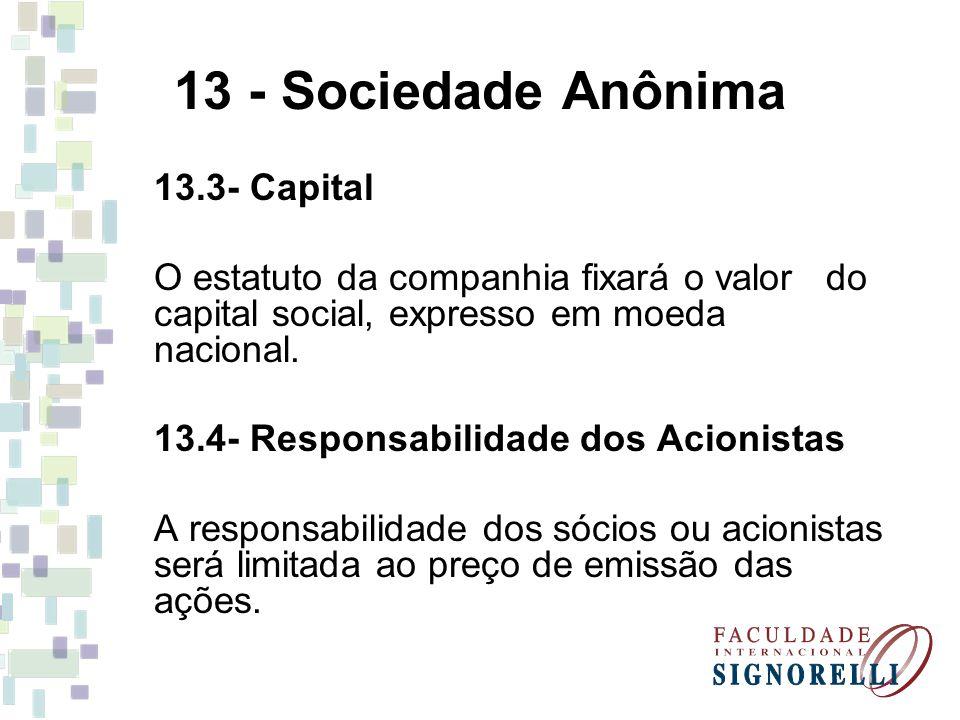 13 - Sociedade Anônima 13.3- Capital