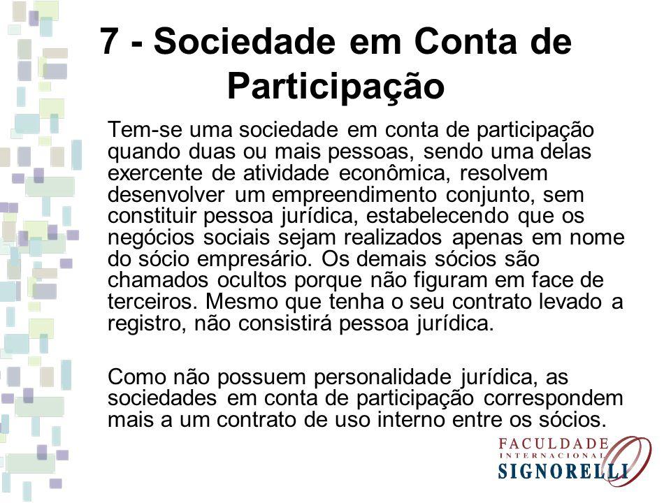 7 - Sociedade em Conta de Participação