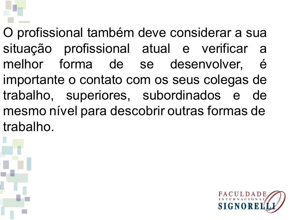 O profissional também deve considerar a sua situação profissional atual e verificar a melhor forma de se desenvolver, é importante o contato com os seus colegas de trabalho, superiores, subordinados e de mesmo nível para descobrir outras formas de